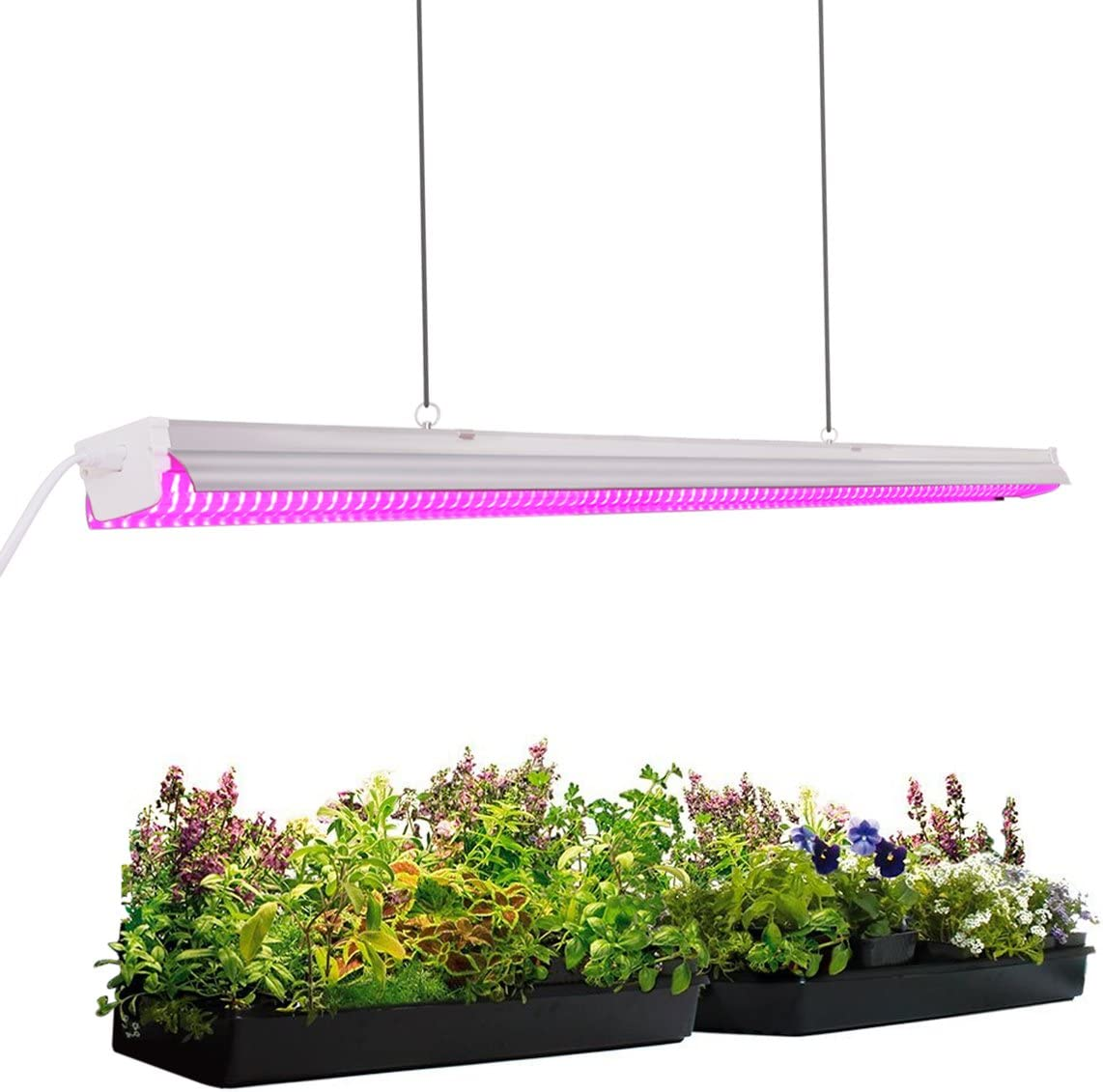 Byingo 4ft 64W Plant Grow Light – LED Integrated Lamp Fixture Plug and Play – Full Spectrum for Indoor Plants Flowers Growing