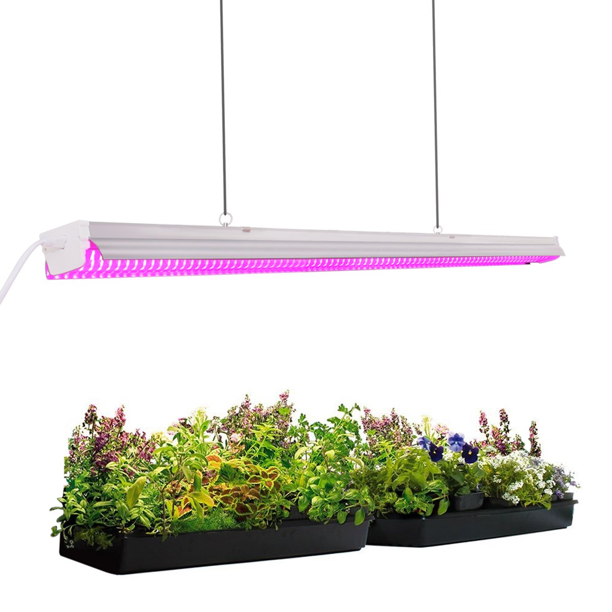Byingo 4ft 64W Plant Growth Light - LED Integrated Lamp Fixture Plug and Play - Full Spectrum for Indoor Plants Flowers Growing