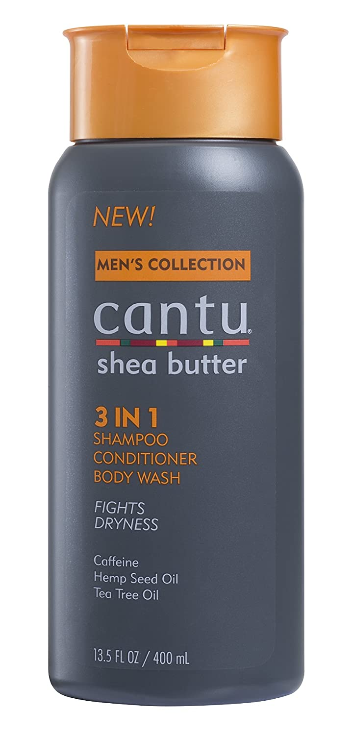 Cantu Shea Butter Men's Collection 3 in 1 Shampoo, Conditioner and Body Wash, 13.5 Fluid Ounce Dr. Teals 07676-12/3PK