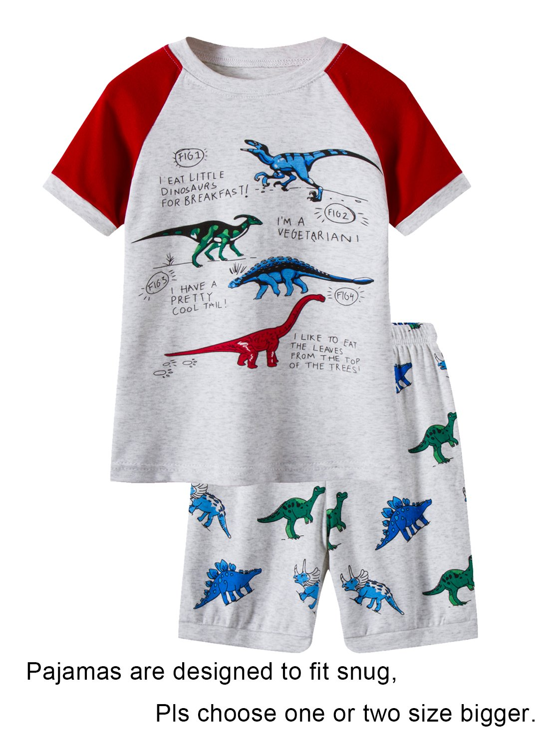 Barara King Big Boys Dinosaur Pajamas 100% Cotton Pjs Clothes Kid 12