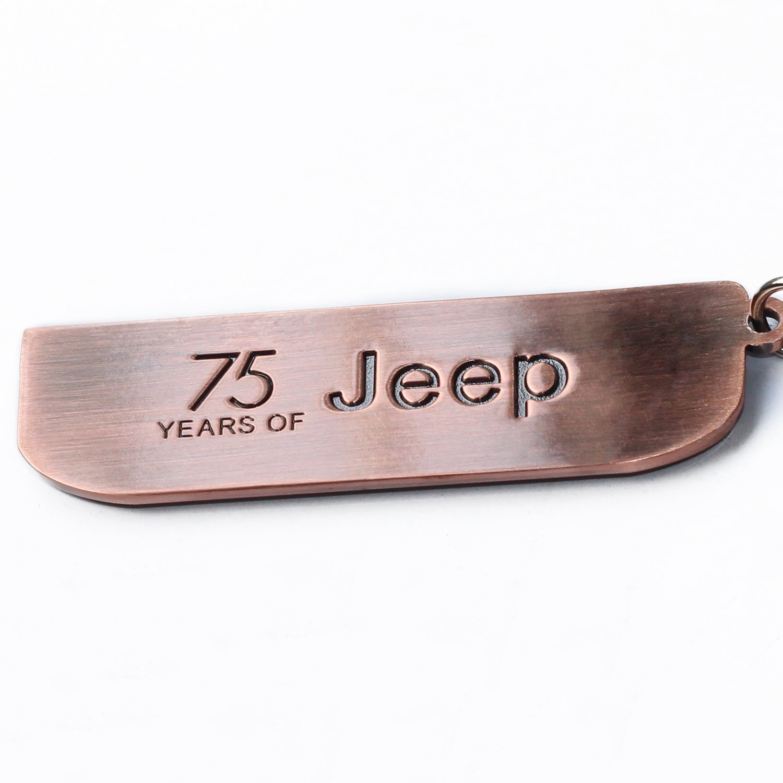 LROEZR 75/Anniversary 3D font grill portachiavi catena per Jeep driver Enthusiast Automotive laser Cut metal emblema portachiavi rosso bronzo 1941//–/2016 da
