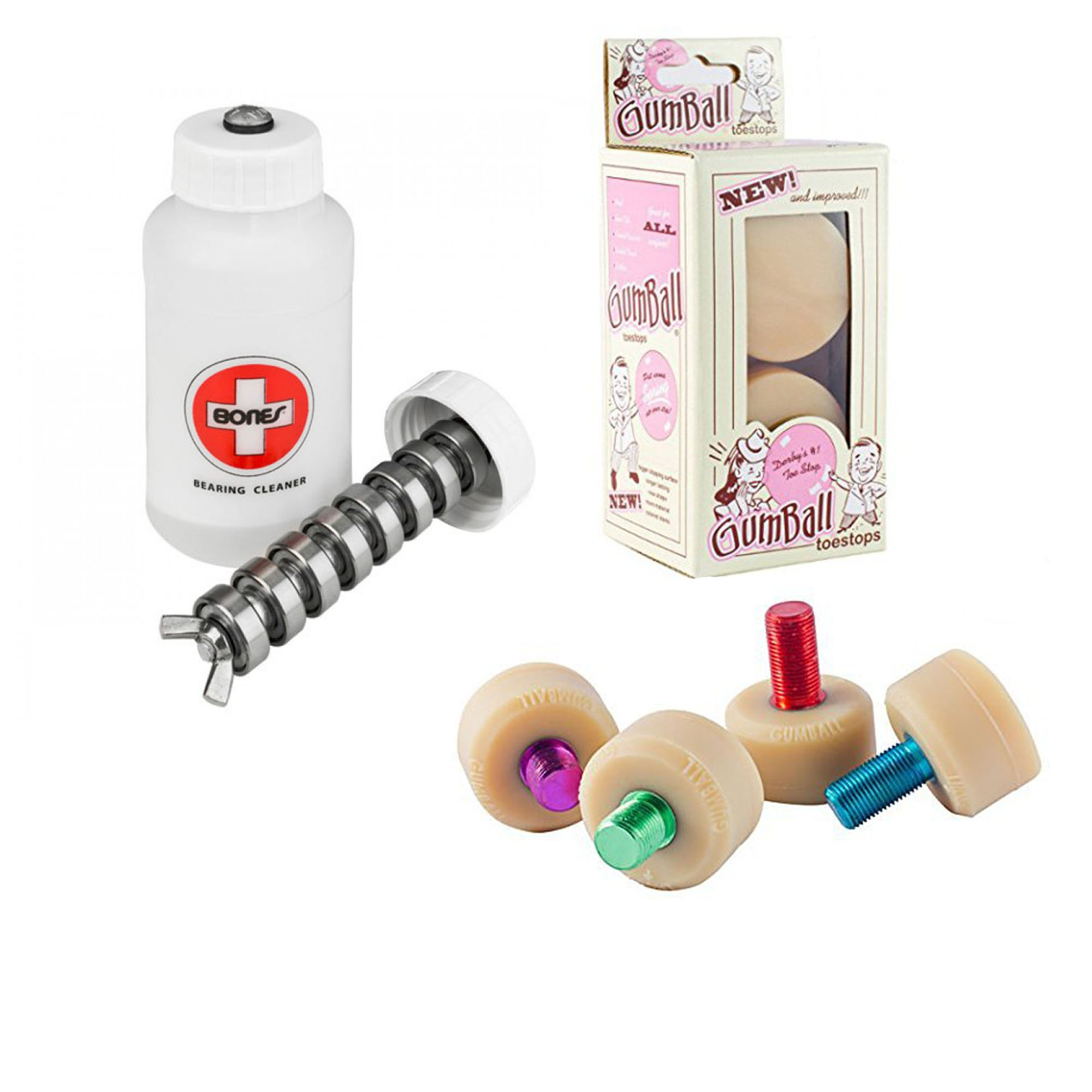 Gumball Toe Stops - Short Stem Gum Ball Roller Derby Skate Stops & Bones Skate Bearings Cleaning Unit by Gum Ball Toe Stops