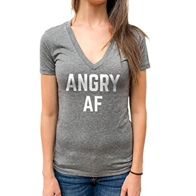 mla custom apparel angry af ladies triblend v neck tee at amazon