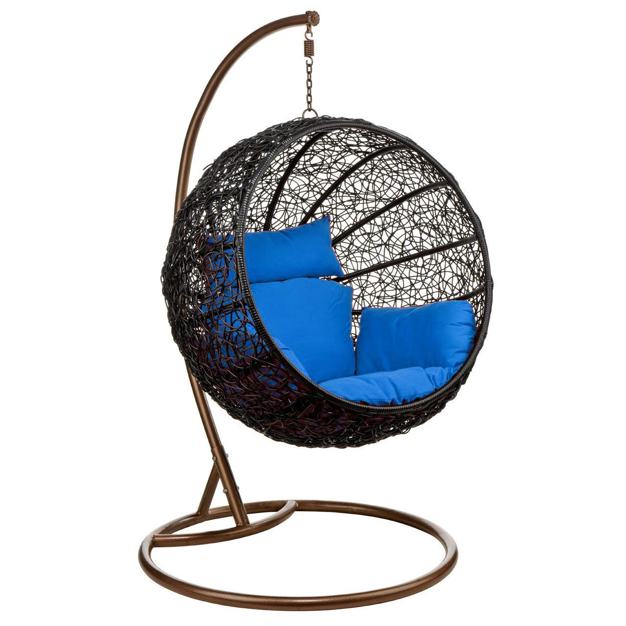 Carry Bird Big Boss Wicker Rattan Hanging Egg Chair Swing For Indoor Outdoor Patio Backyard Stylish Comfortable Relaxing With Cushion And Stand Standard Brown Swing Blue Amazon In Home Kitchen