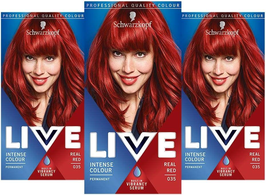 Schwarzkopf Live Colour Intense Coloration Hair Coloration, Tinte de pelo rojo permanente, 35 tonos reales, 3 unidades