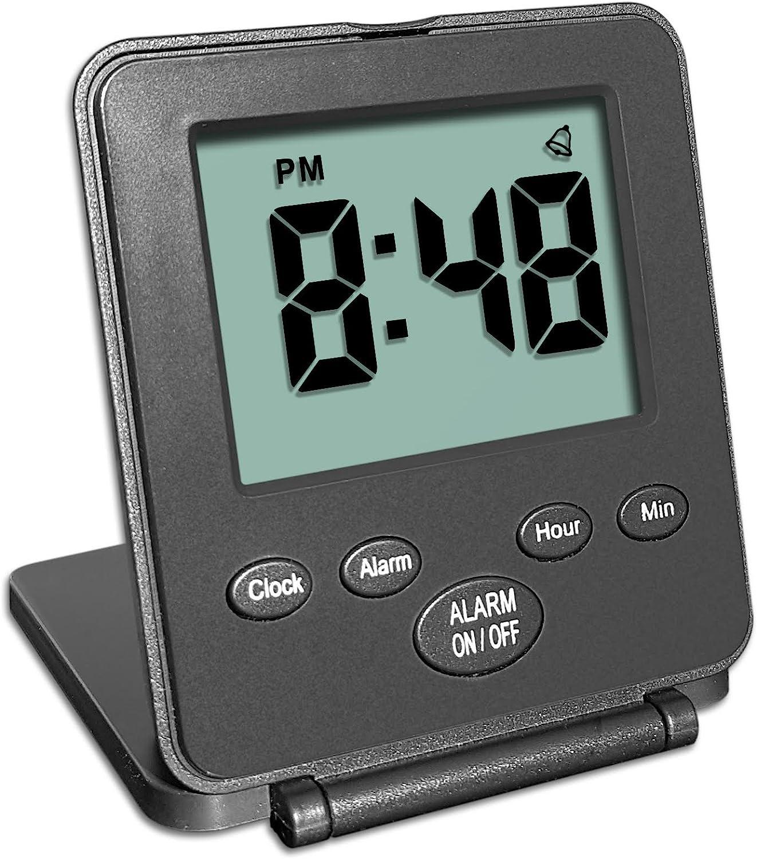 Reloj Digital de viaje con despertador | Uso fácil y simple | Alarma - Repetición de alarma - Interruptor ON/OFF |Pequeño y ligero | ¡El reloj despertador más vendido en USA en 2 años!| Negro