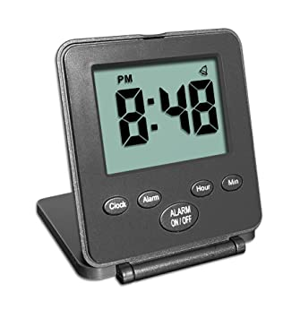 Digital Travel Alarm Clock - No Bells, No Whistles, Simple Basic Operation, Loud Alarm, Snooze, Small and Light, ON/Off Switch, 2 AAA Battery Powered, ...