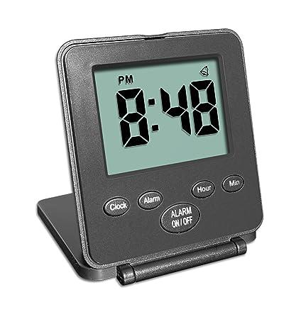 Reloj Digital de viaje con despertador | Uso fácil y simple | Alarma - Repetición de alarma - Interruptor ON/OFF |Pequeño y ligero | ¡El reloj ...