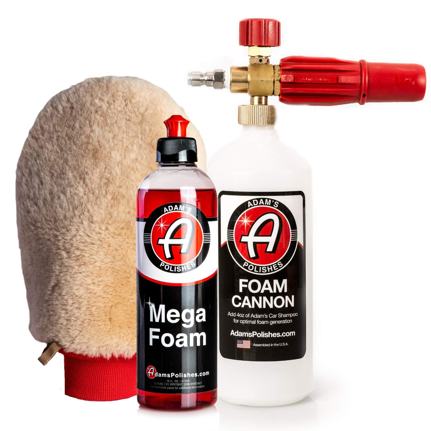Adam's Mega Foam Shampoo - pH Neutral Wash Soap Designed for Mega Suds in Your Bucket, Foam Cannon, Gun, Sponge, Mitt, Chamois - Won't Strip Wax Sealants or Ceramic Coatings (Mega Foam Cannon Kit) by Adam's Polishes