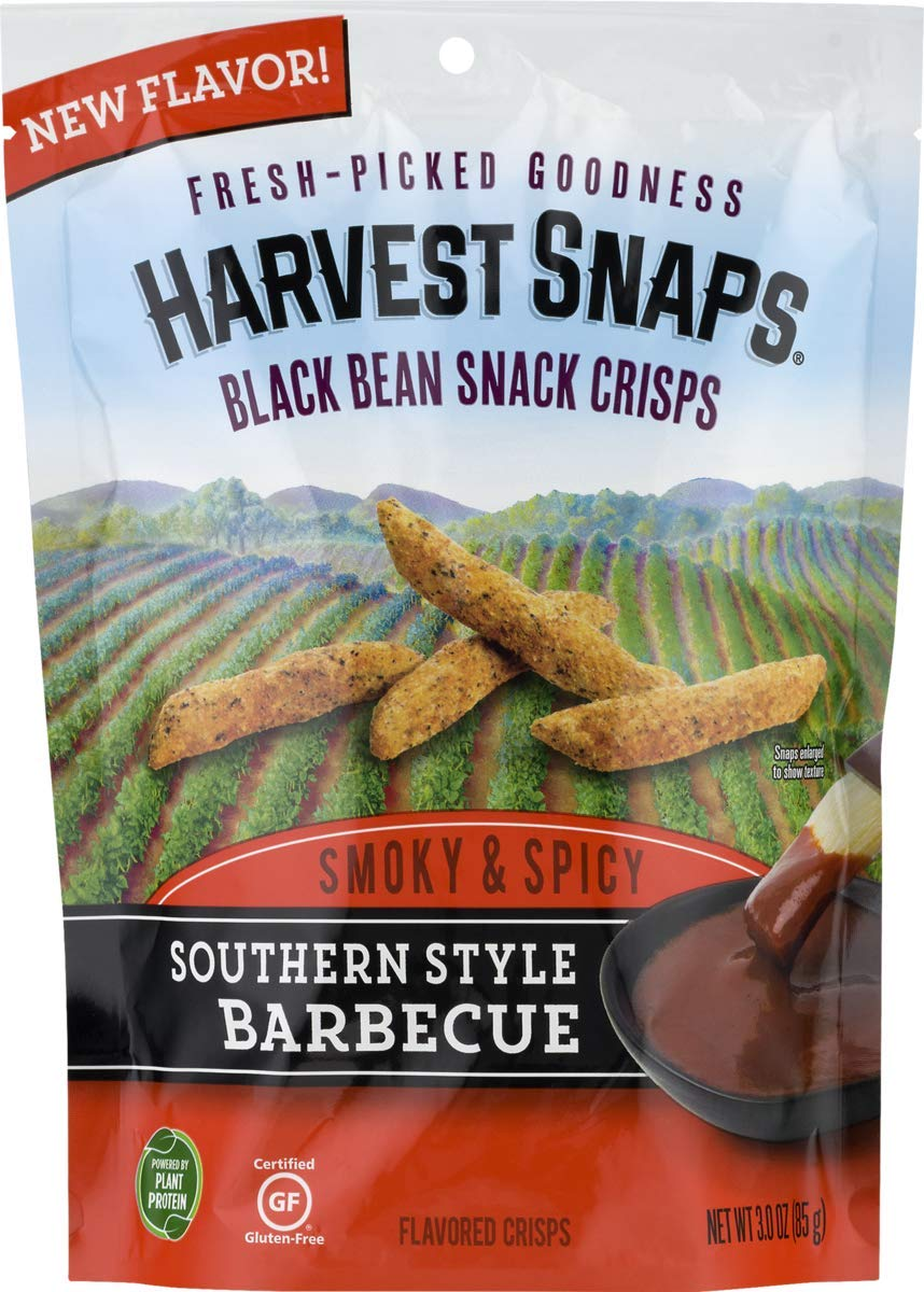 Harvest Snaps Southern Style Barbecue Black Bean Snack Crisps, Gluten-Free, Baked and Crunchy Vegetarian Snack With Plant Protein and Fiber, 3oz/6Count