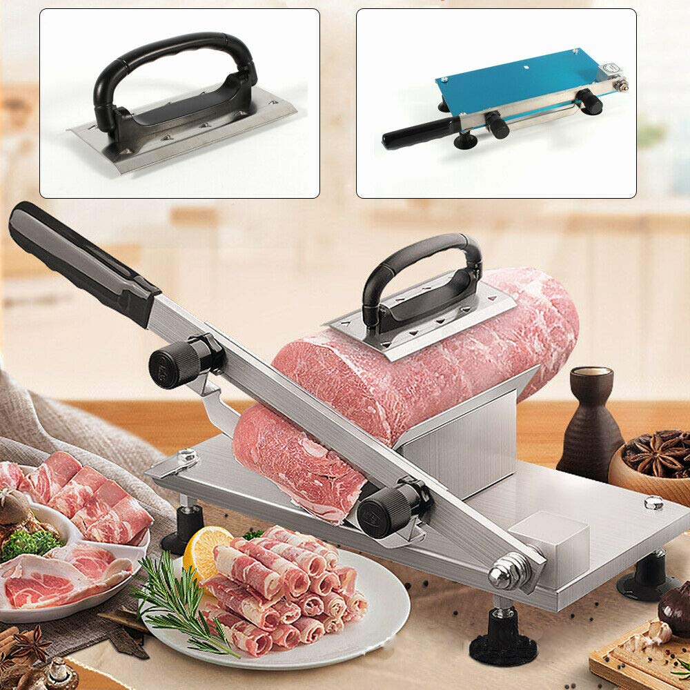 NOPTEG Manual Frozen Meat Slicer,Beef Mutton Roll Cutter Stainless Steel Food Slicer For Home Kitchen Thickness Adjustable 0.5-25mm
