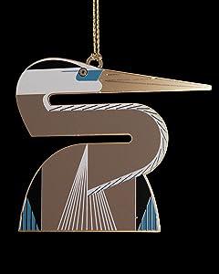 Charley Harper Heron Brass Ornament Adornment