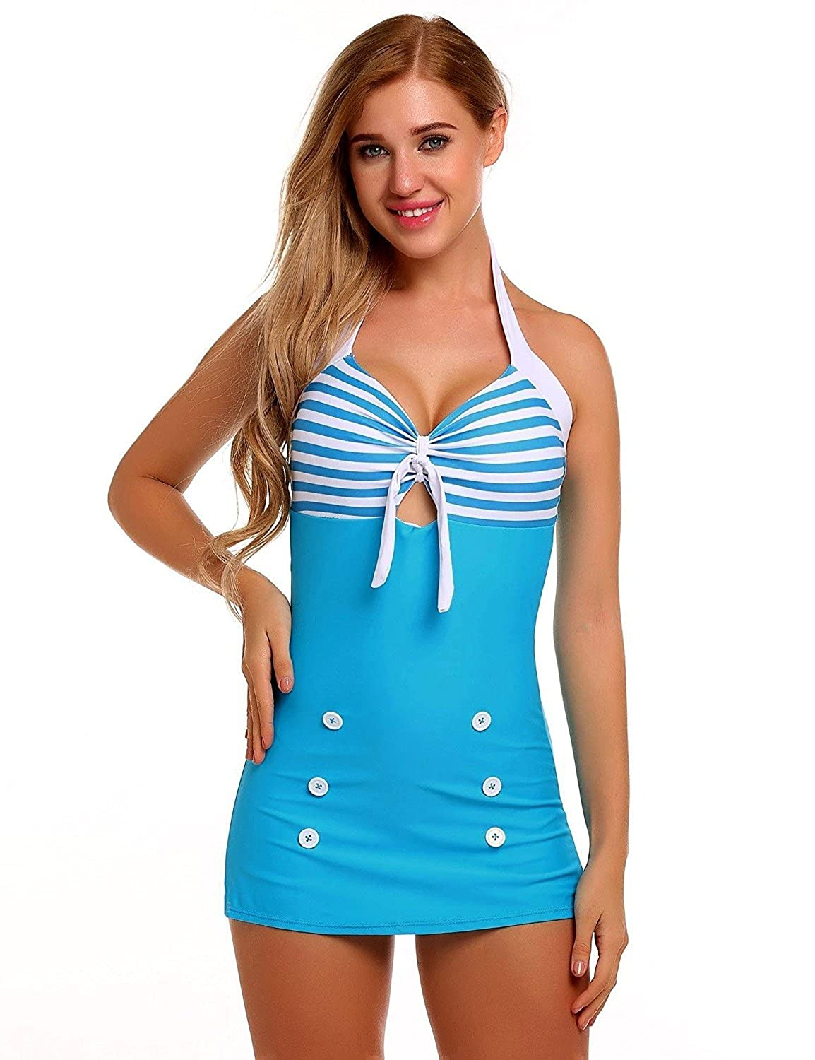 Cooshional Womens Vintage Retro 50s One-Piece Halter Neck Swimming Costume Swimsuit