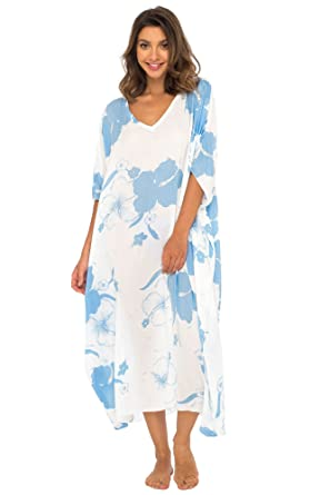 7bc2c9a64 Back From Bali Womens Maxi Swimwear Cover Up, Floral Beach Dress for Bikini  Swimsuit with