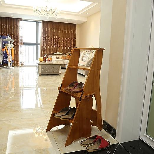 LIXIONG Escalera Silla de Escalera de Cuatro Pisos Taburete Plegable multifunción de Madera Maciza, Altura 86 cm taburetes de la Biblioteca (Color : Honey): Amazon.es: Hogar