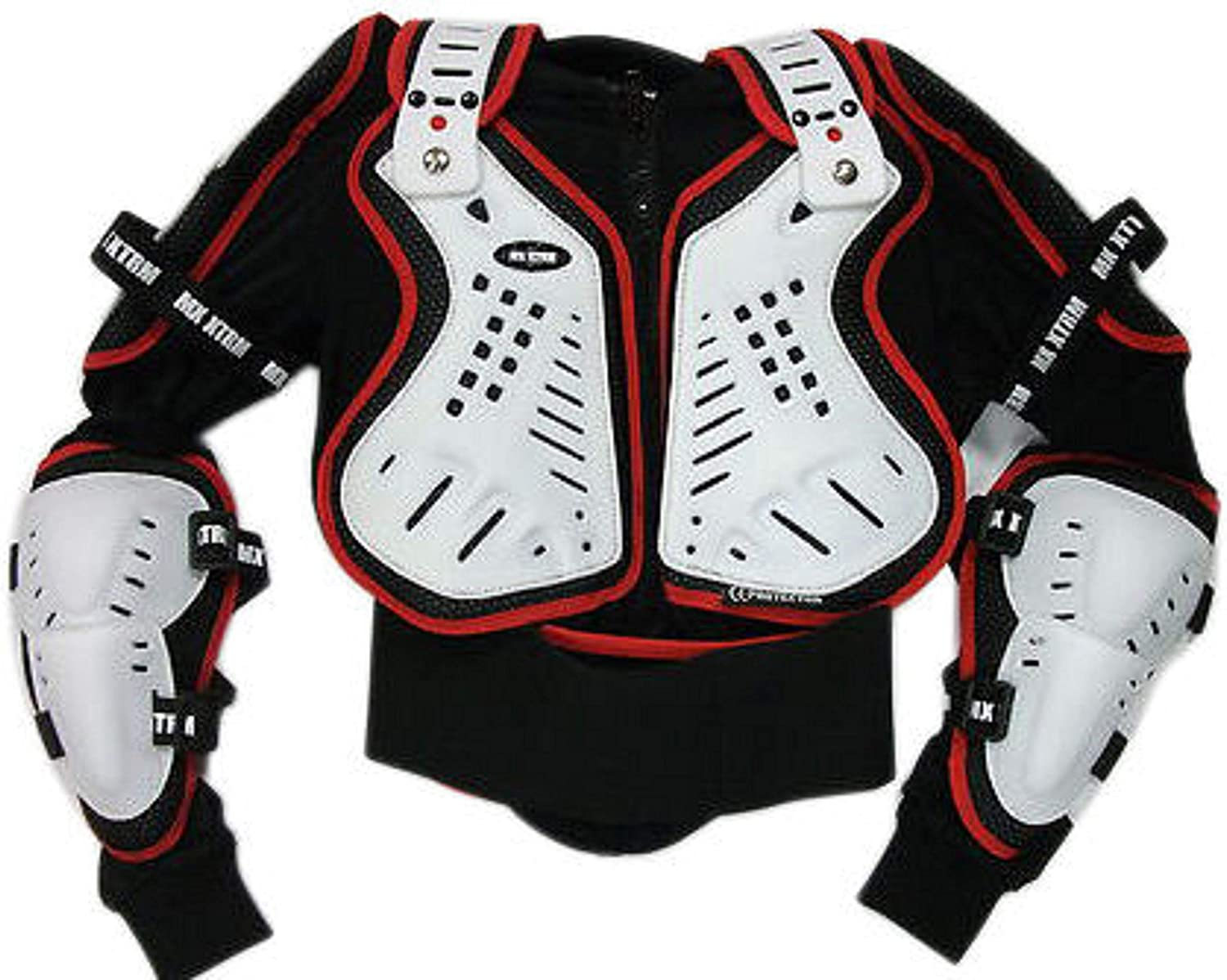 Adult Motocross Kit 2020 Body Armour CE Approved Off Road Quad Dirt Bike BMX Racing Motorcycle Protective Guard Full Jacket White//Black////Red With XTRM Neck Brace Mx Safety Collar Roll S