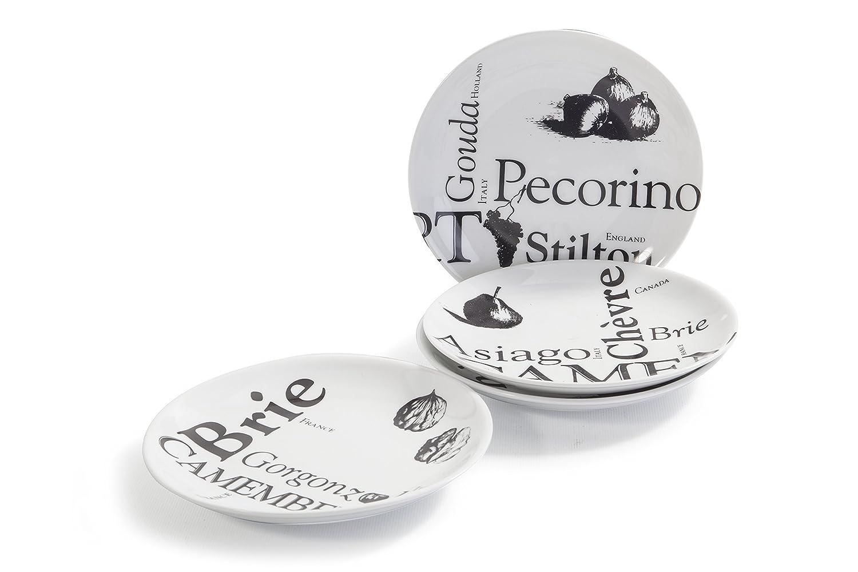 BIA Cordon Bleu Savoir Faire 6.5-Inch Cheese Plates, Set of 4, White/Black 984740G+D28S1SIOC