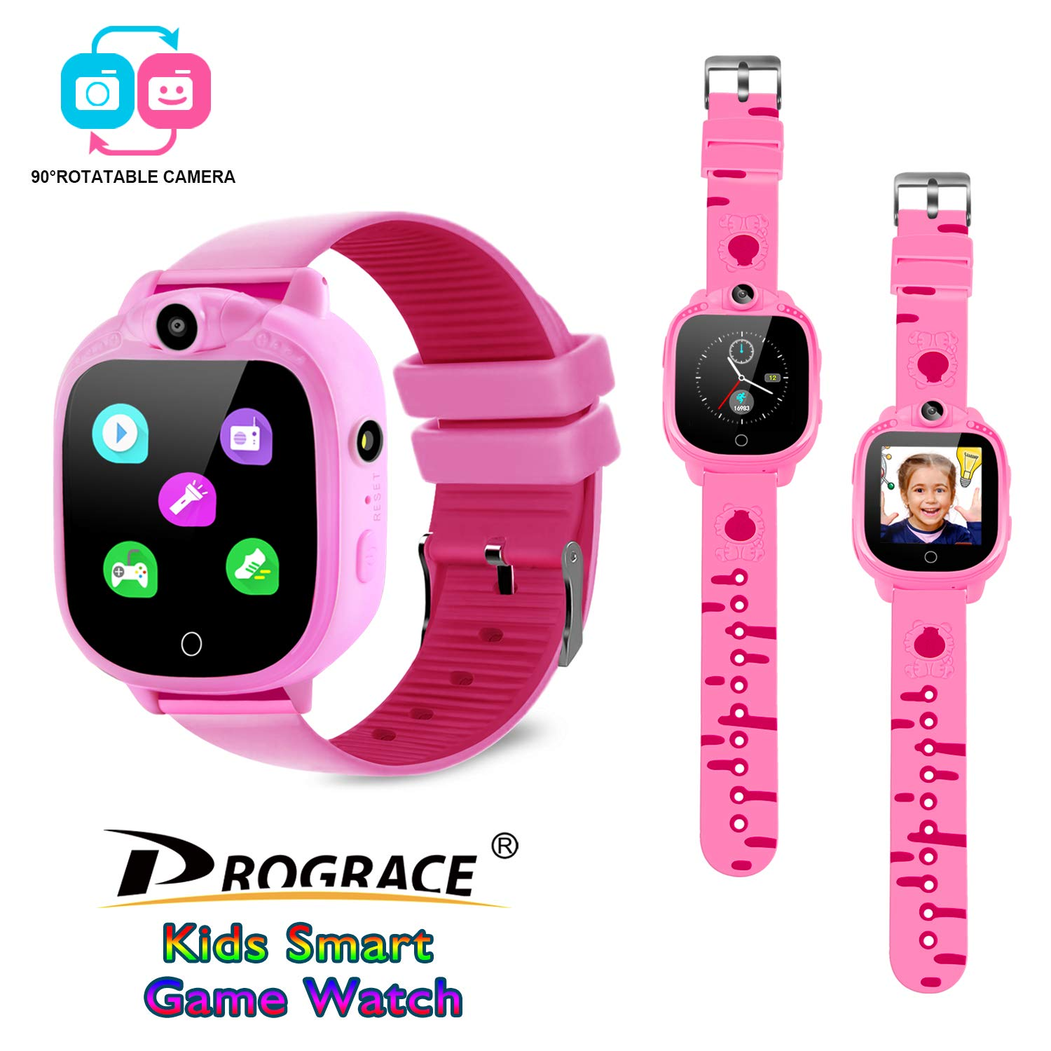 PROGRACE Kids Smart Watch with 90°Rotatable Camera Smartwatch Touch Screen Kids Watch Music Pedometer Flashlight FM Radio Games Digital Wrist Watch for Girls Electronic Learning Toys by PROGRACE