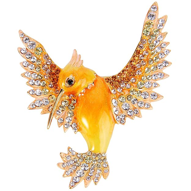 Vintage Style Jewelry, Retro Jewelry EVER FAITH Womens Austrian Crystal Enamel Lovely Bird Animal Brooch Gold-Tone $17.99 AT vintagedancer.com
