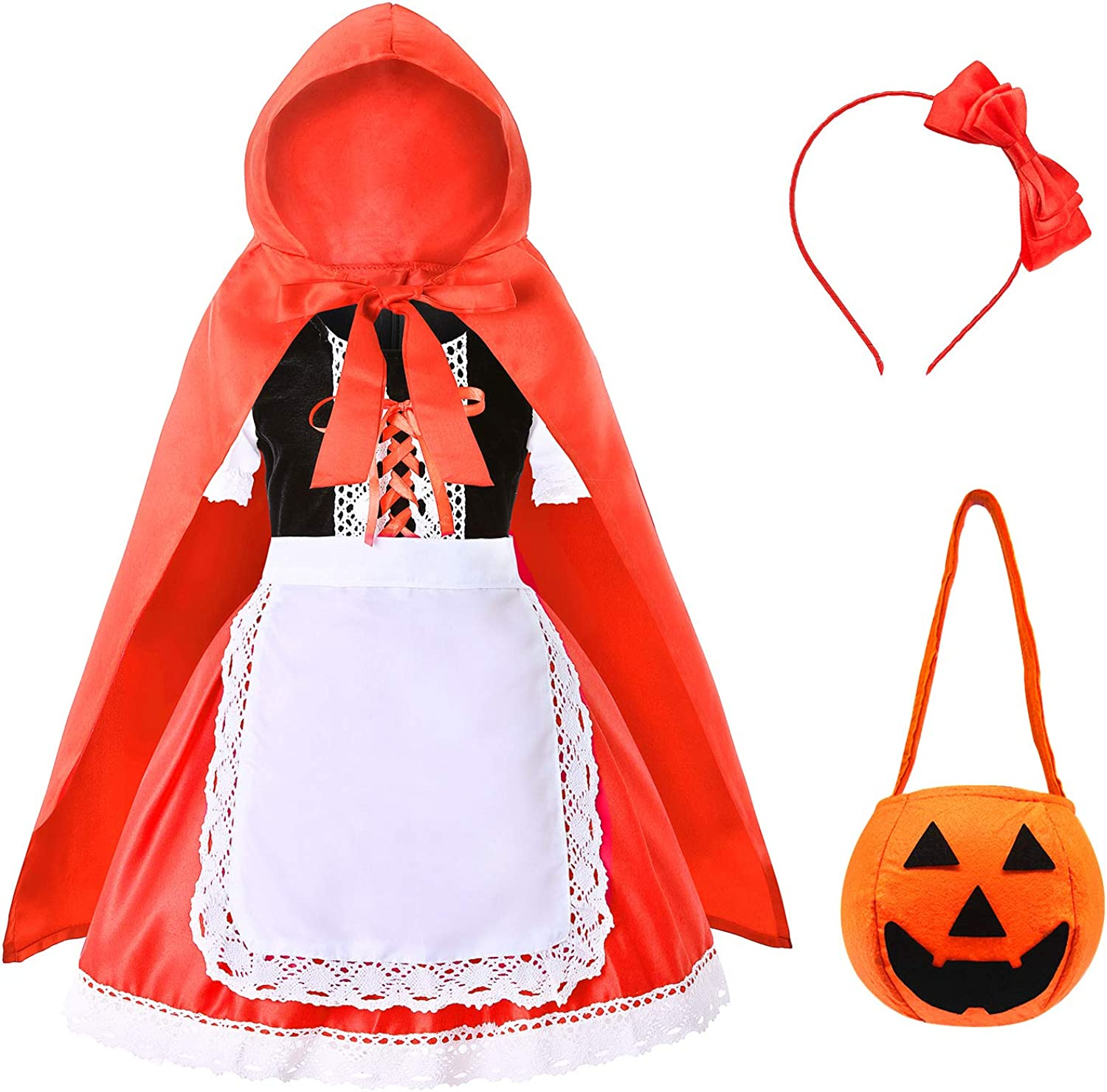 Heay Little Red Riding Hood Costume for Girls Kids Halloween Cosplay Costume Age 3-12 Years