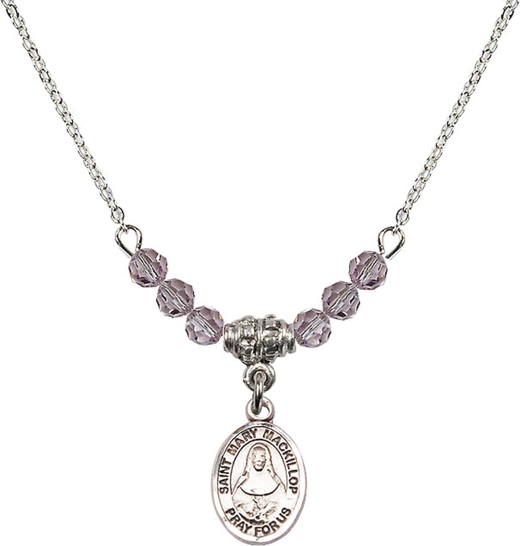 Bonyak Jewelry 18 Inch Rhodium Plated Necklace w// 4mm Light Purple February Birth Month Stone Beads and Saint Mary Mackillop Charm