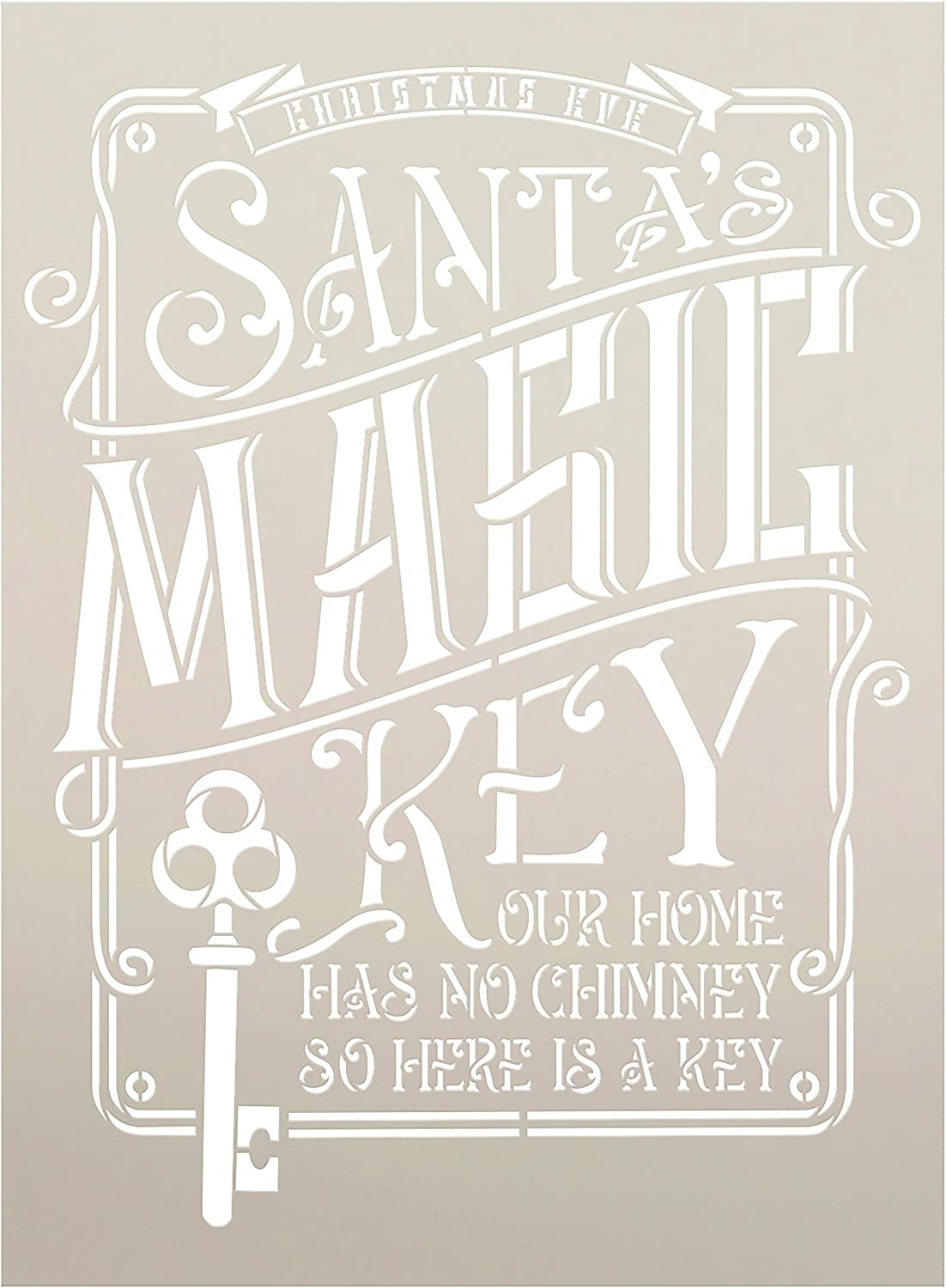 Santa's Magic Key Stencil by StudioR12 | DIY Holiday Home Decor | Vintage Christmas Eve Word Art | Home Has No Chimney | Craft & Paint Wood Signs | Reusable Mylar Template | Size (11 x 15 inch)