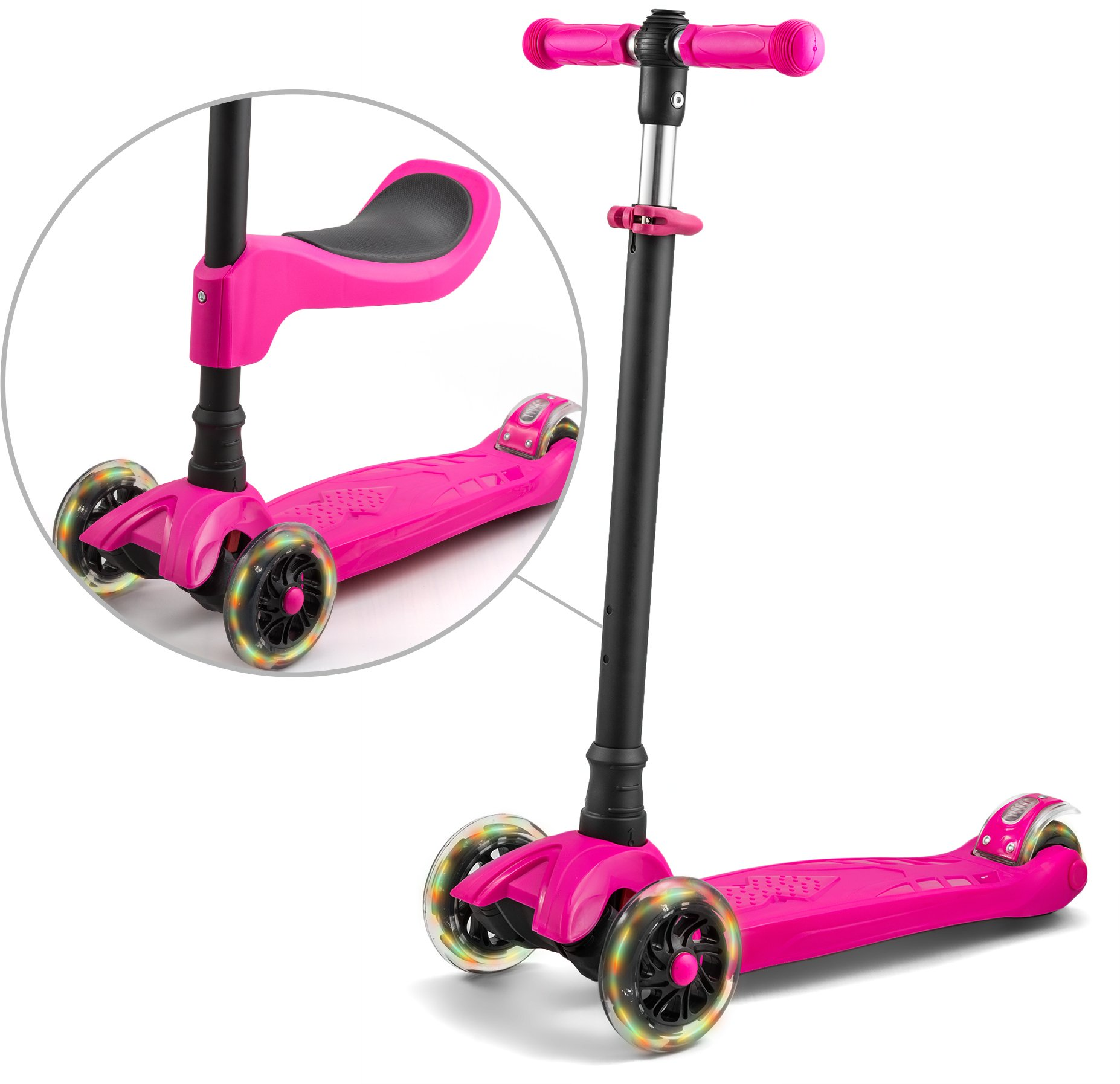 LaScoota 2-in-1 Kick Scooter with Removable Seat great for kids & toddlers Girls or boys – Adjustable Height w/Extra-wide Deck PU Flashing Wheels for Children from 2 to 14 Year-Old (Pink) by LaScoota (Image #2)