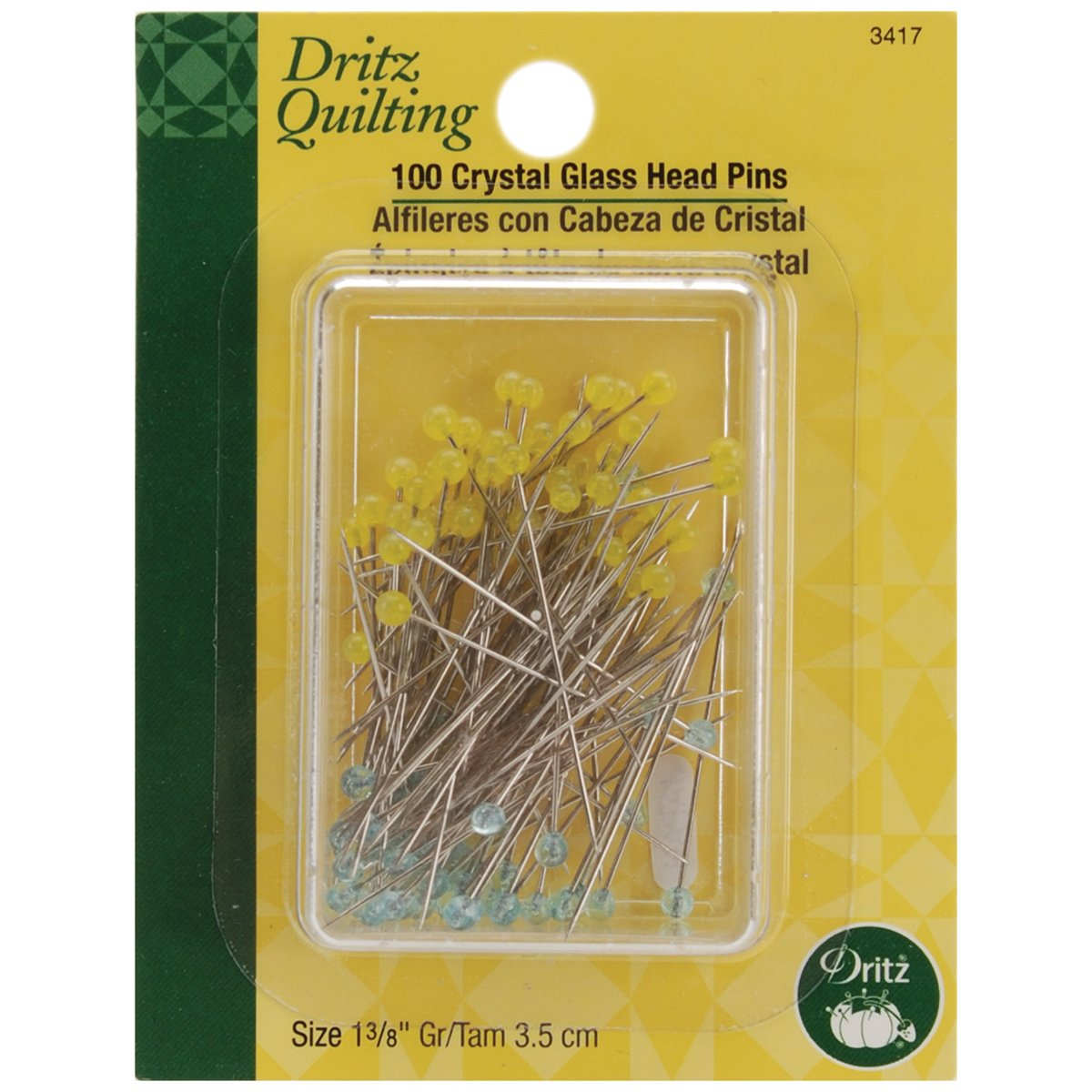 Dritz Quilting 3417 Crystal Glass Head Pins, 1-3/8-Inch, 100 Count Prym Consumer USA