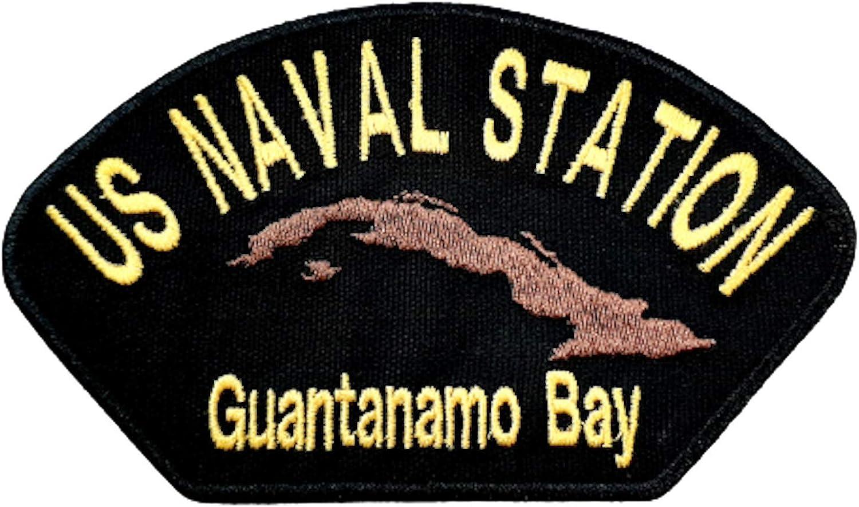 US Naval Station Guantanamo Bay Cuba GITMO Embroidered Patch Yellow On Black