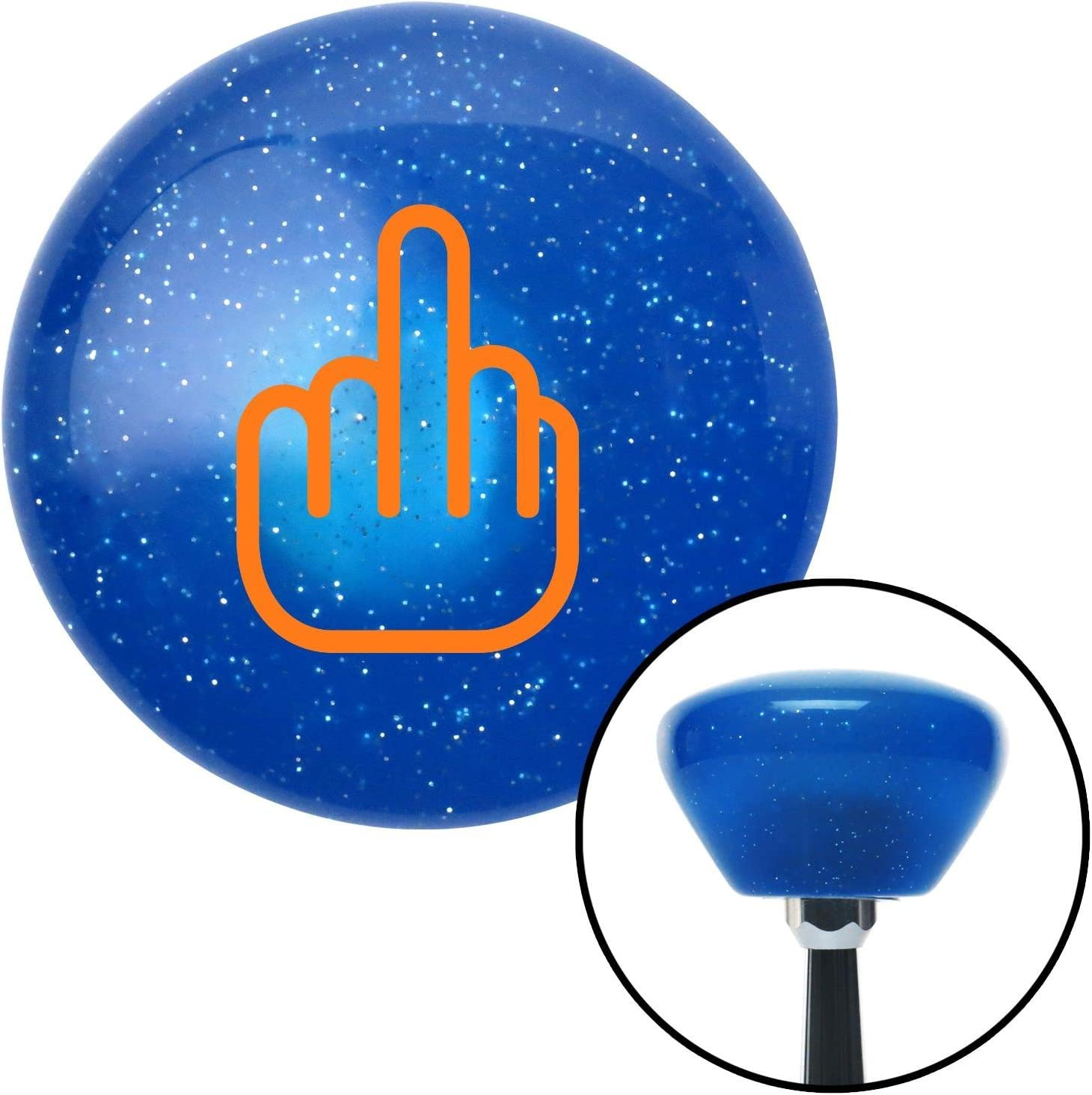 American Shifter 185828 Blue Retro Metal Flake Shift Knob with M16 x 1.5 Insert Orange Smooth Middle Finger