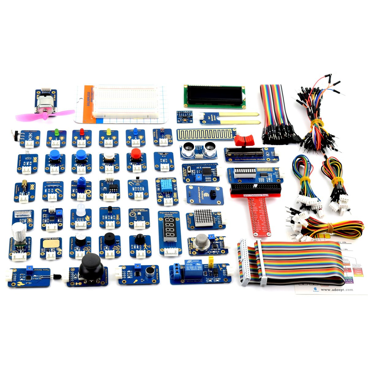 Adeept 46 Modules Ultimate Sensor Kit For Raspberry Pi 32 B Wiringpi Python Library 180 Dht11 With C And Code 150 Pages Pdf Guidebook Computers