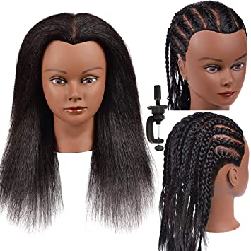 Amazon Com Mannequin Head Hair 100 Real Hair Mannequin Head Hairdresser Practice Braiding Stylingtraining Head Manikin Cosmetology Doll Head Afro Mannequin Head For Practicing Hairstyling Manikin Head Beauty