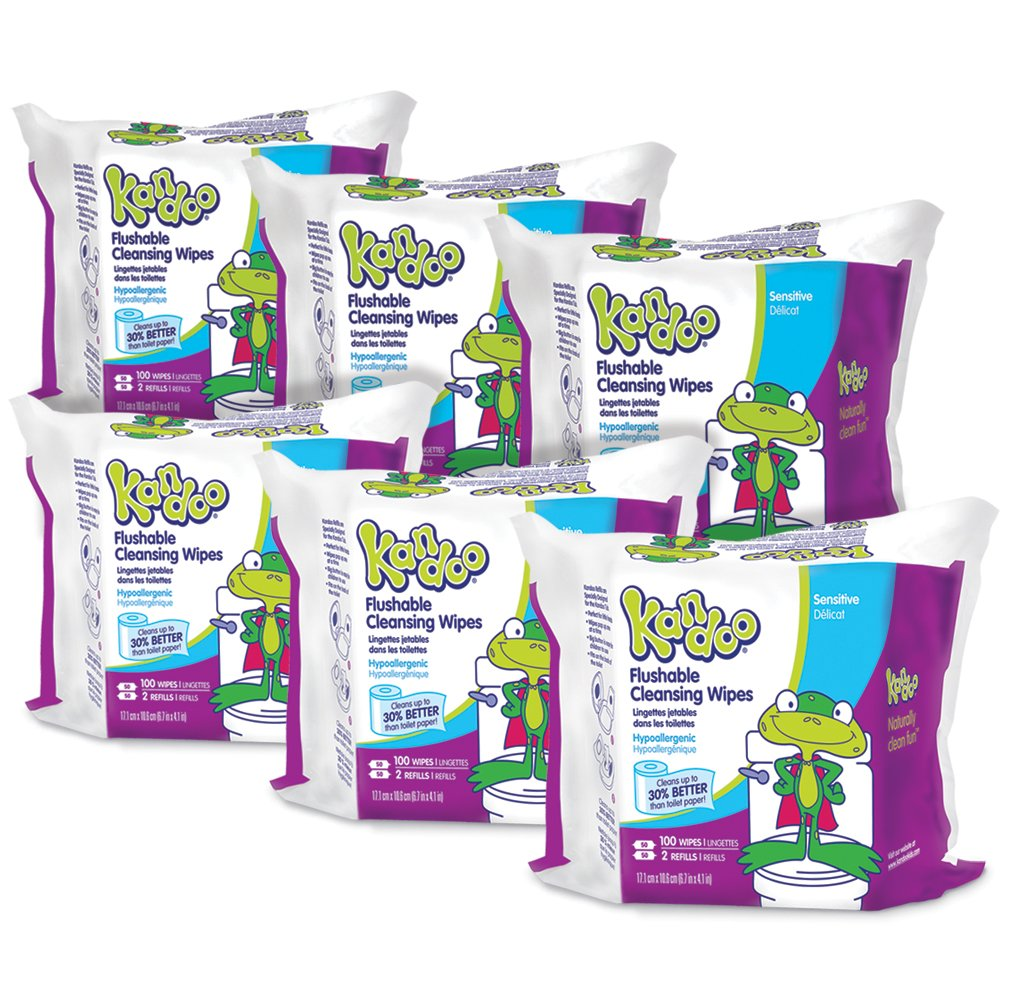 Kandoo Kids Flushable Wipes Refill, Potty Training Cleansing Cloths, Sensitive, 100 Count (