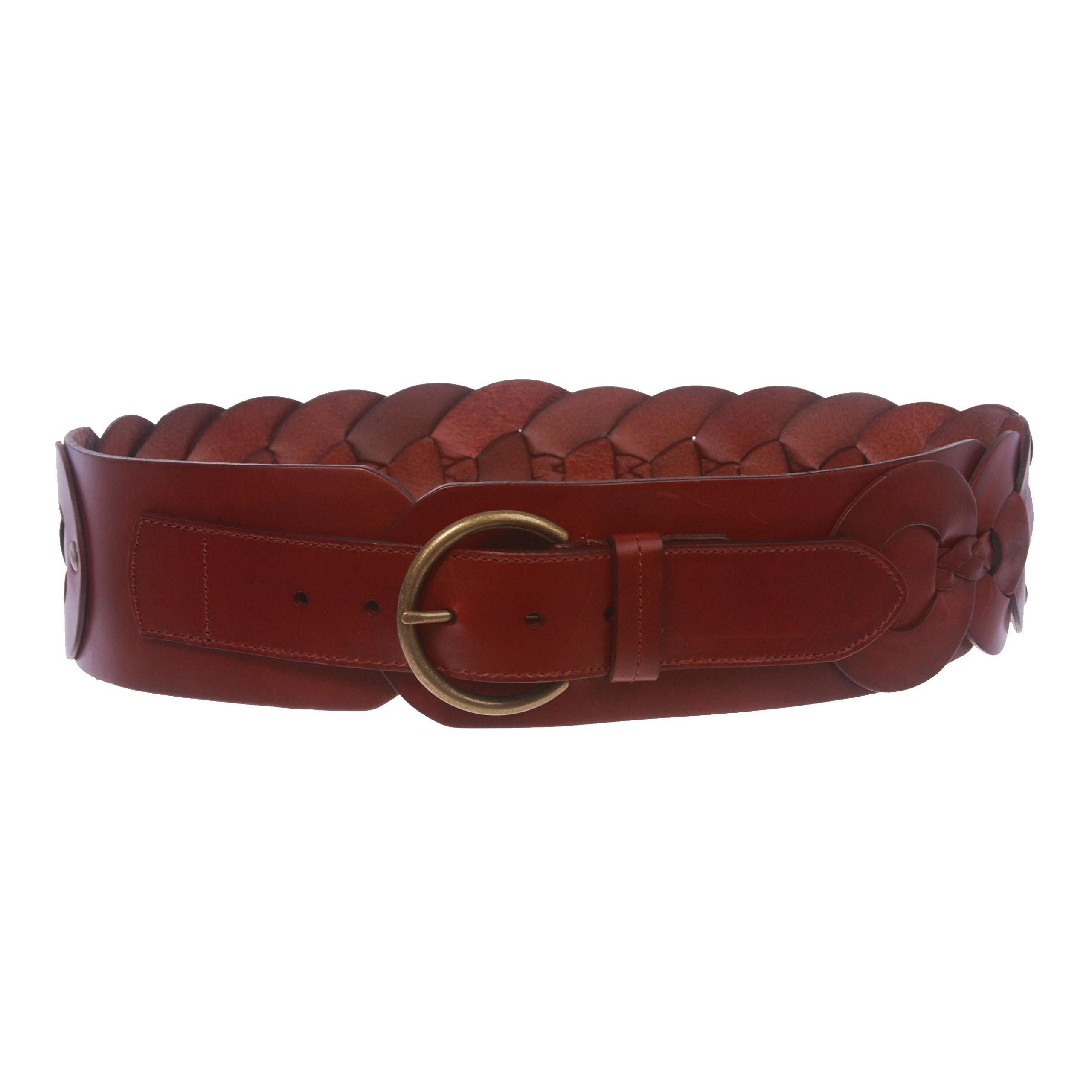 Ladies 3'' (75 mm) Wide High Waist Round Disk Linked Braided Cowhide Top Full Grain Leather Belt, Wine | S - 34