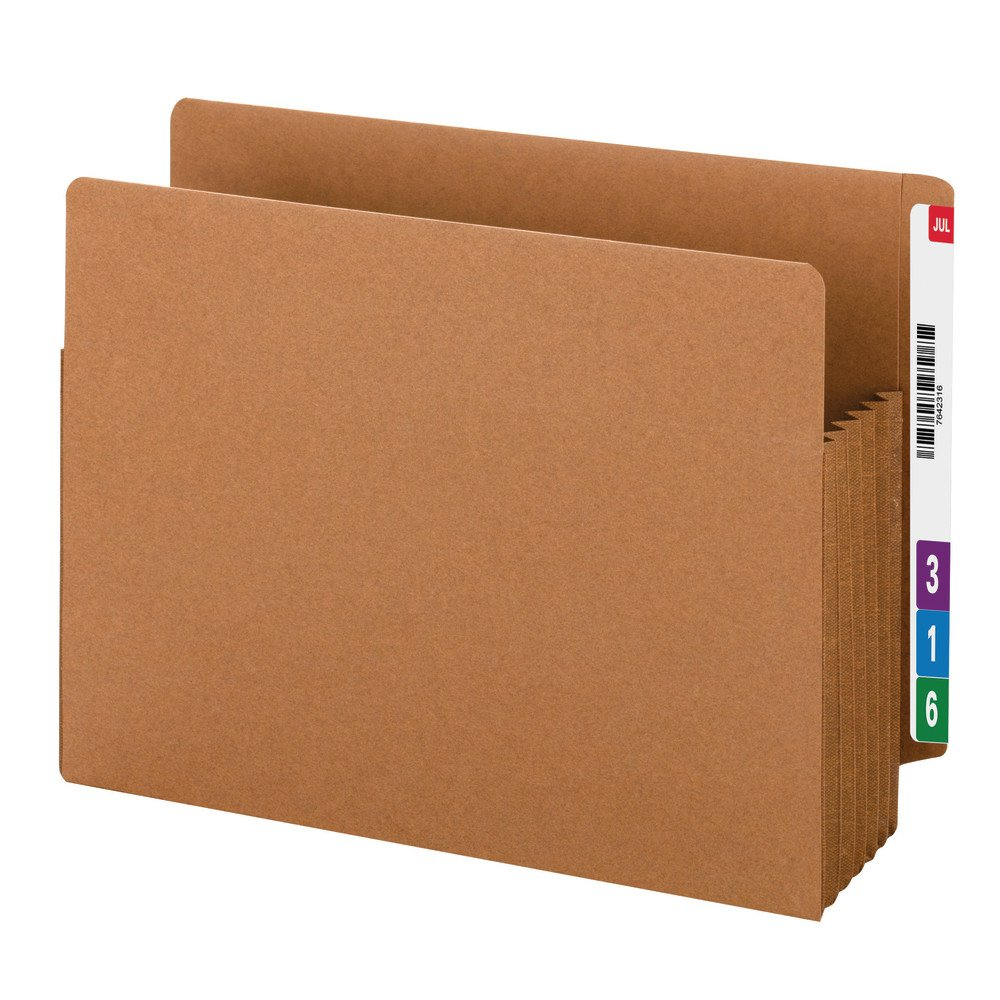 Smead End Tab TUFF File Pocket, Reinforced Straight-Cut Tab, 5-1/4'' Expansion, Reinforced Gusset, Extra Wide Letter Size, Redrope, 10 per Box (73790) by Smead