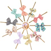 Ncmama Fabric Cheer Bows Nylon Elastic Baby Girls Headbands for Newborn Infant Toddler Hairband Pack of 10