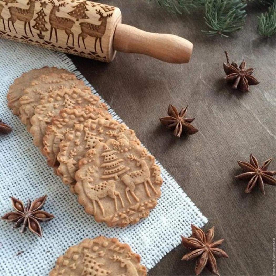 GuGio Christmas Wooden Rolling Pins, Wooden Engraved Embossing Rolling Pin with Christmas Deer Pattern for Baking Embossed Cookies,Rolling Pin Kitchen Tool for Kids and Adults to Make Cookie Dough by GuGio (Image #4)