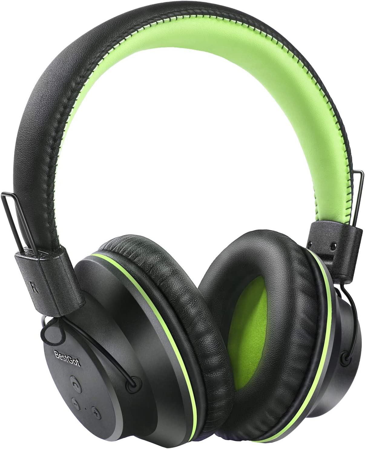 Bluetooth Over Ear Headphones, BestGot S1 Wireless Headset Foldable 20Hrs Playtime Over-Ear Wireless Headphones with Mic for PC/Cell Phone (Black/Green)