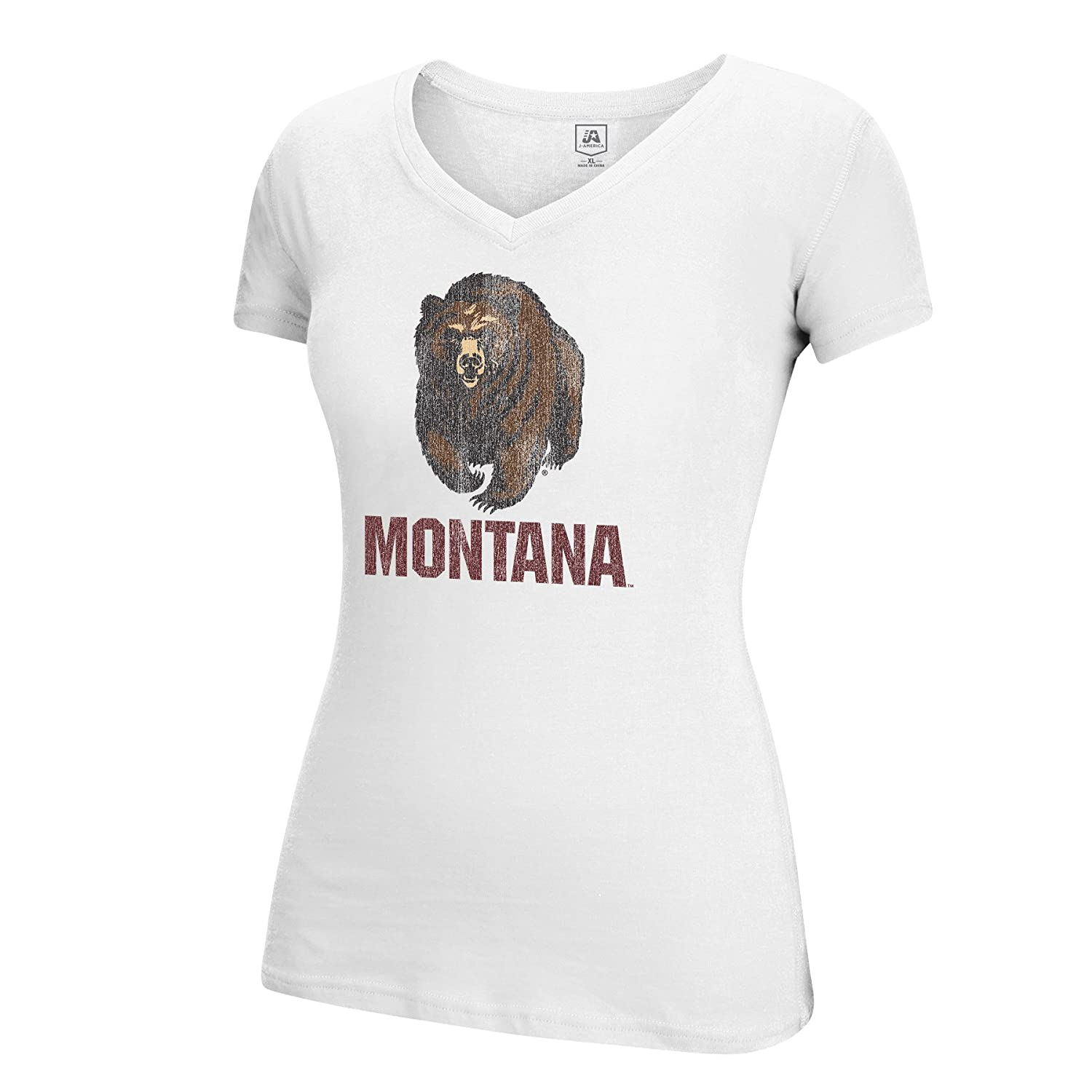 White J America NCAA Montana Grizzlies Adult Women Large Mascot Essential Tee Small