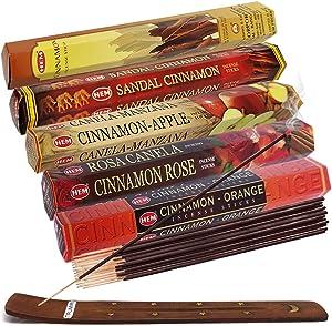 Hem Incense Sticks Variety Pack #8 And Incense Stick Holder Bundle With 5 Cinnamon Based Fragrances