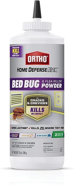 Ortho Home Defense Max Bed Bug & Flea Killer Powder - Flea & Bed Bug Powder, Apply to Cracks & Crevices in Bed Frames, Baseboards, & Window Frames, Bed Bug & Flea Control for up to 8 Months, 12 oz.