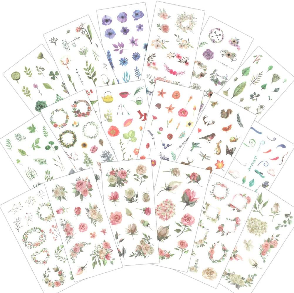 1000Art Nature Stickers Set(18 Sheets / 200+) Spring Flowers Green Plant Leaves Stickers for Cards,DIY Arts and Crafts,Life Daily Planner,Journals,Scrapbooks,Calendars, Album