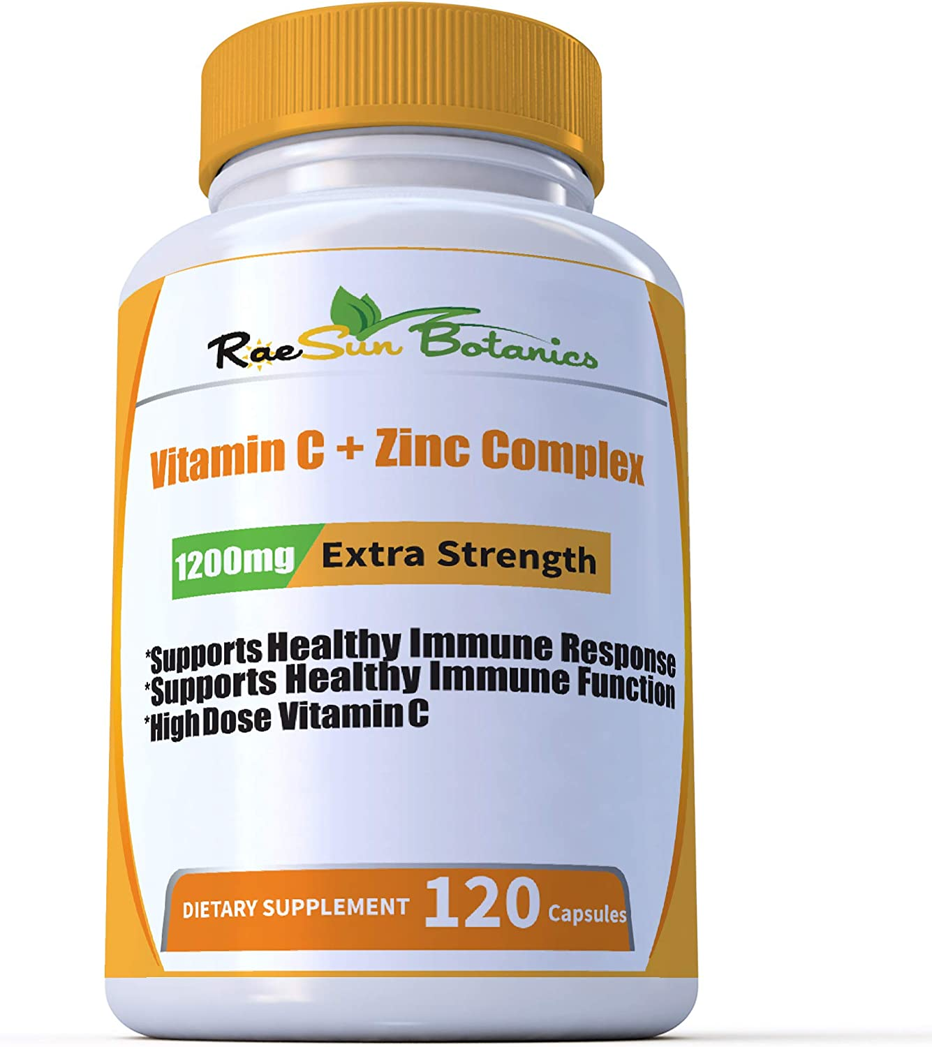 RaeSun Botanics High Dose Vitamin C + Zinc Complex for Immune Support Health 120 Capsule 2 Month Supply Vegetable Capsule by RaeSun Botanics