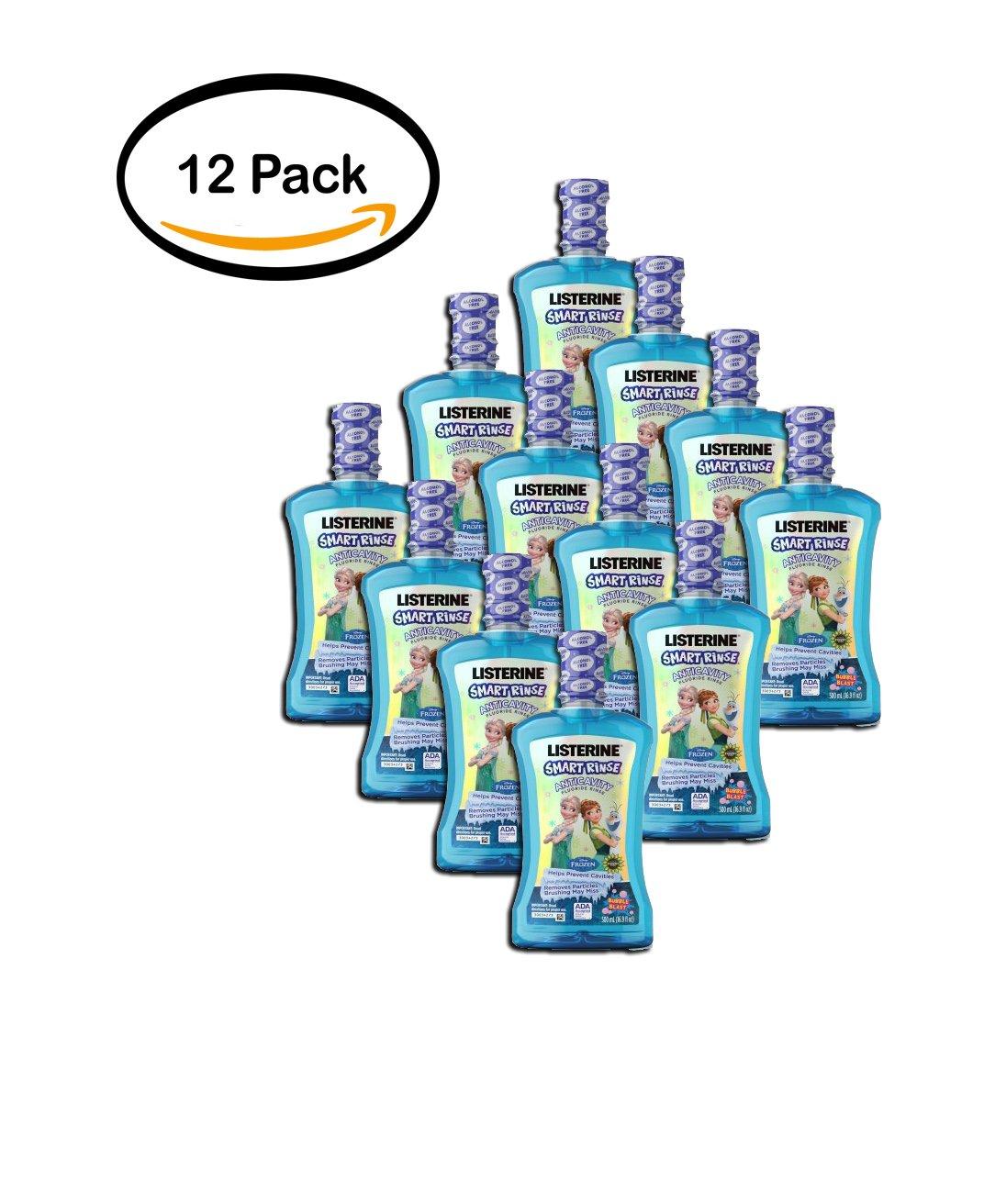 PACK OF 12 - Listerine Smart Rinse , Disney Frozen , Bubble Blast , 500 Ml