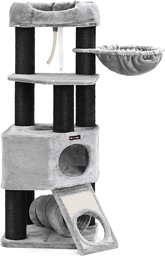 Feandrea Pct02w Large Cat Scratching Post With Fluffy Viewing Platform Lounger And Cuddly Cave Cat Tower Extra Thick Trunks Complete With Black Sisal Wrapped Stable Light Grey Pet Supplies