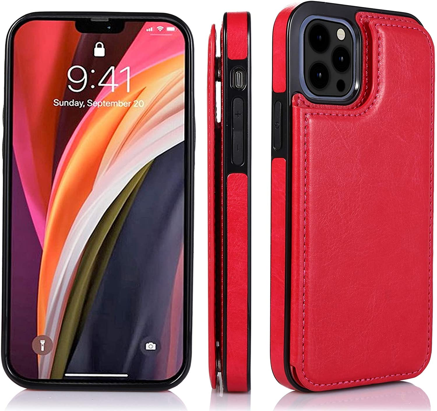 UNKNOK Compatible with iPhone 12 Case and iPhone 12 Pro Case - Wallet Case with Card Holder Slots Slim Premium PU Leather Double Magnetic Clasp Flip Cover for 2020 iPhone 12/12 Pro 6.1 Inch