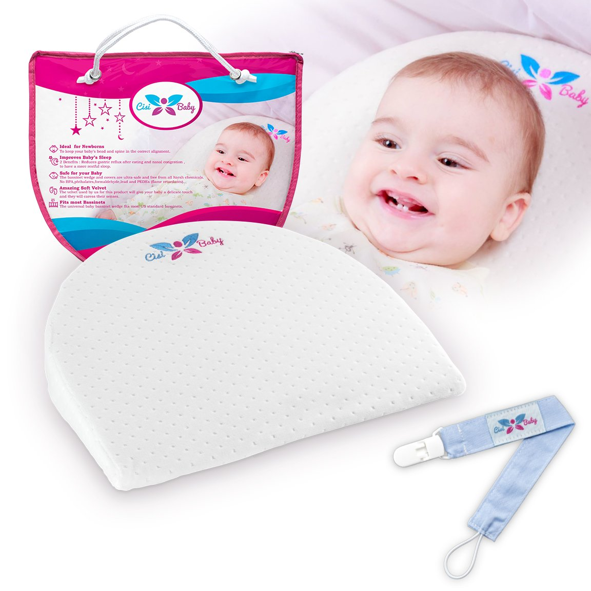 Universal Bassinet Wedge Pillow - Perfect As Baby Sleep Positioner For Infant Acid Reflux And Newborn Nasal Congestion Reducer - Improves Child' s Sleeping - by CisiBaby