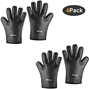 Nolimas Silicone Cooking Grilling Gloves,Heat Resistant Oven Mitt for Baking,BBQ,Kitchen,Waterproof Non-Slip Potholders with Inner Cotton Layer, Safe Handling of Pots and Pans,Black,2Pair