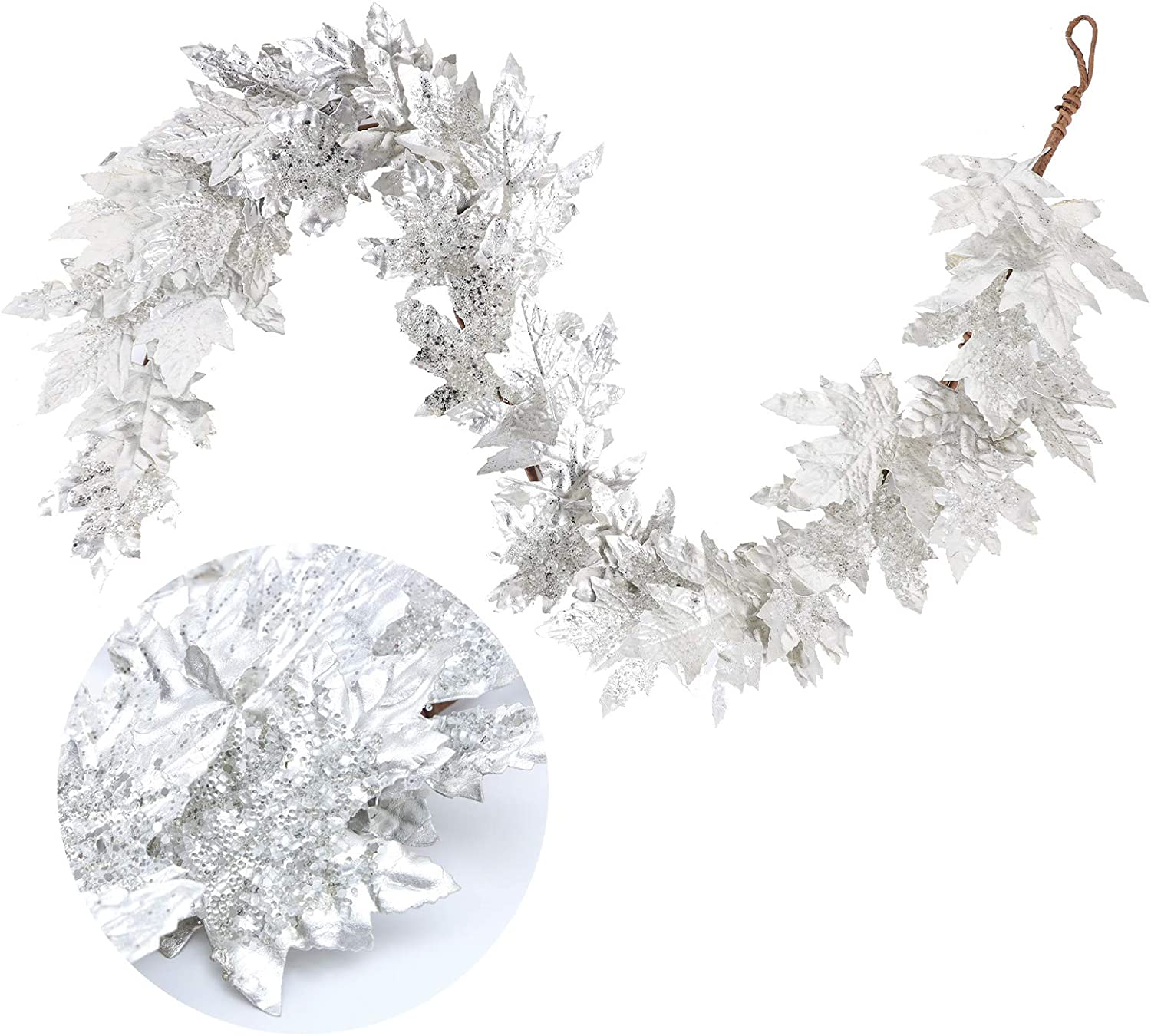 Frdsomar 4.8ft Christmas Garland, Artificial Christmas Tree Decoration with Silver Leaves for Front Door, Flocked Winter Garland for Indoor, Outdoor Decor, Home, Fireplace Decoration