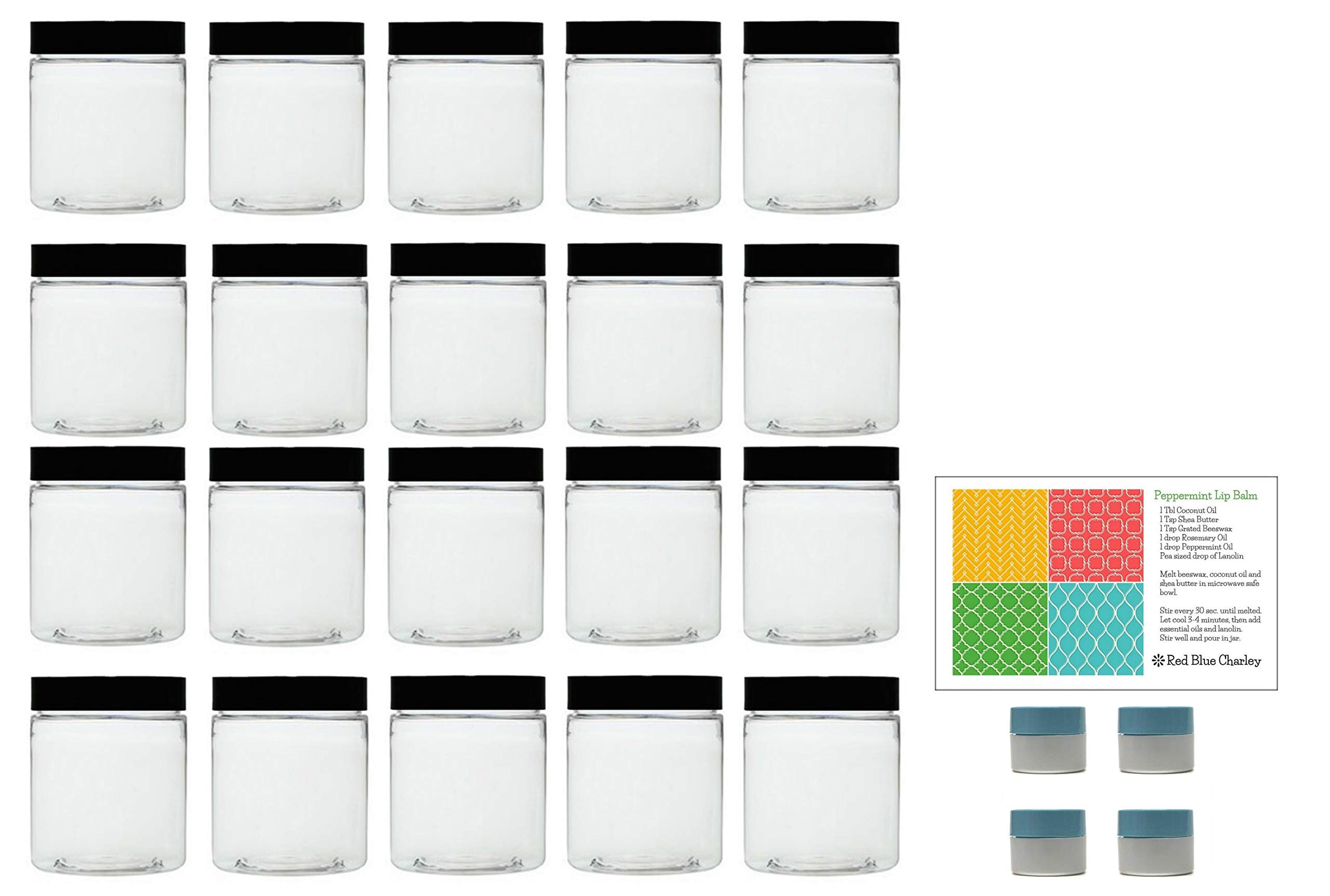 Clear 8 oz Plastic Jars with Black Lids (20 pk) with Mini Jars - PET Round Refillable Containers